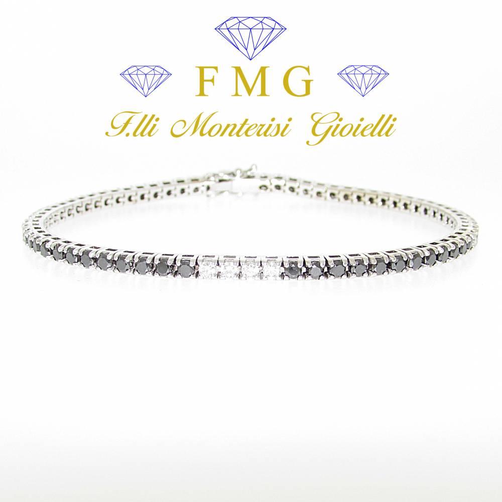 Bracciale tennis diamanti neri e diamanti colore G purezza SI1 carati tot. 2,22.