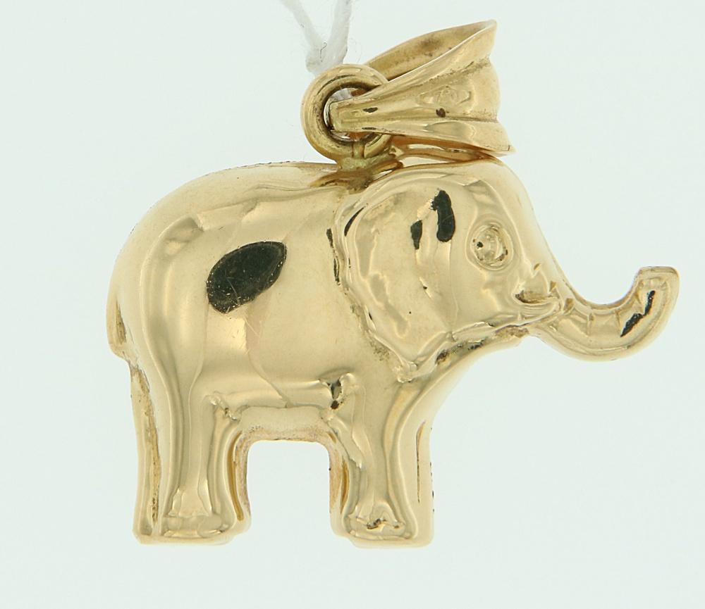 Ciondolo Elefante oro lucido
