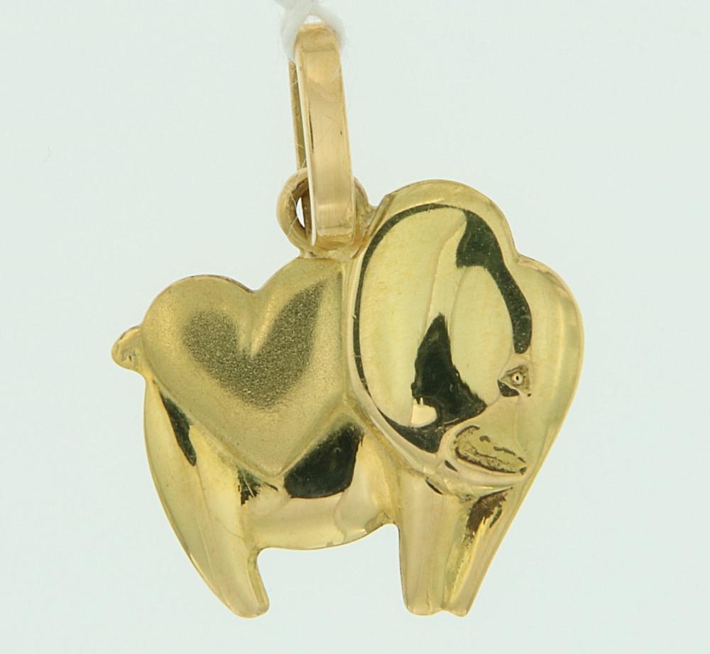 Ciondolo Elefante oro cuore