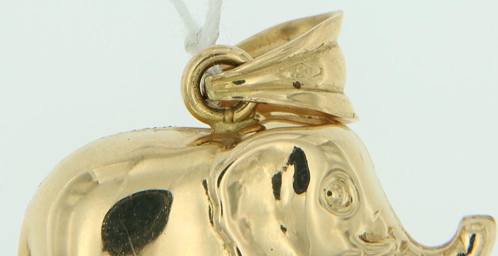 Ciondolo Elefante oro diamantato punzone